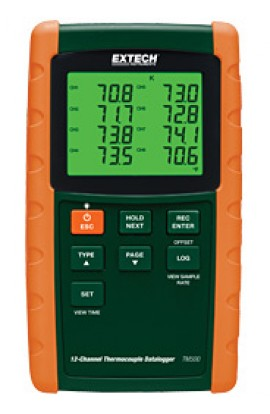 Termometri professionali/Termocoppie Con datalogger 12 ingressi TM500